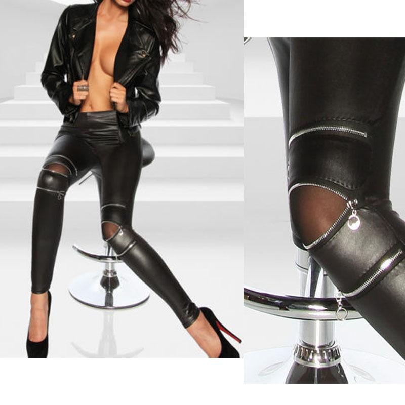 女裝皮革緊身褲性感拉鍊打底褲彈力修身長褲
