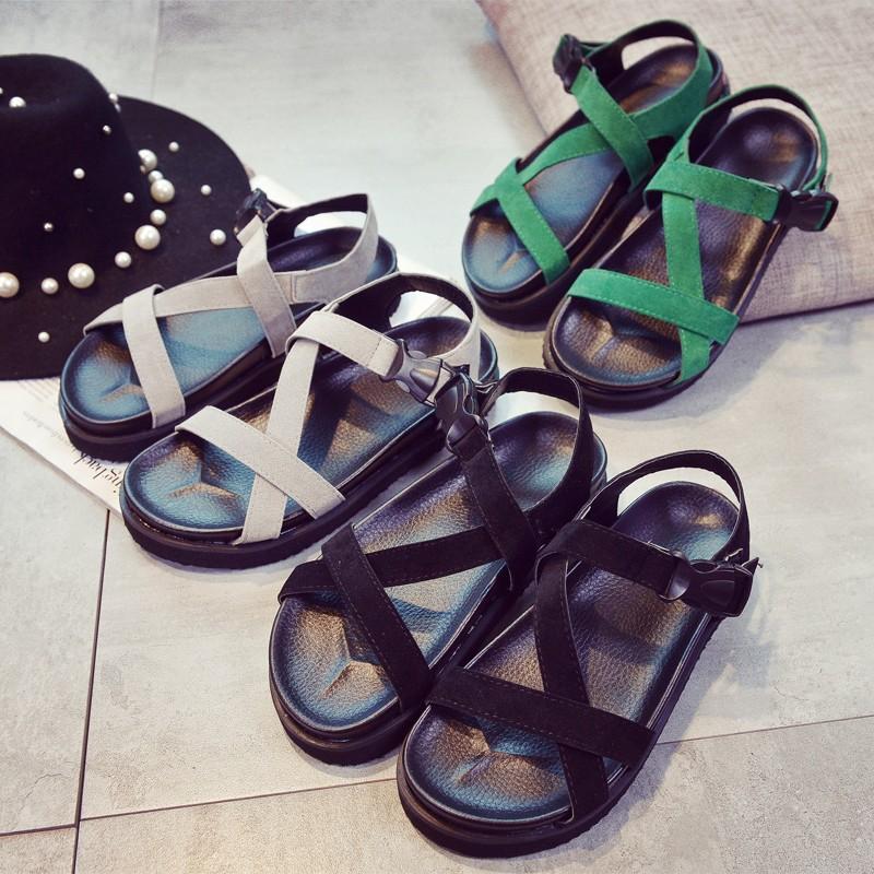 韓國范2016 春 新品涼鞋女夏平底皮女鞋羅馬涼鞋女平跟 魚嘴鞋涼鞋