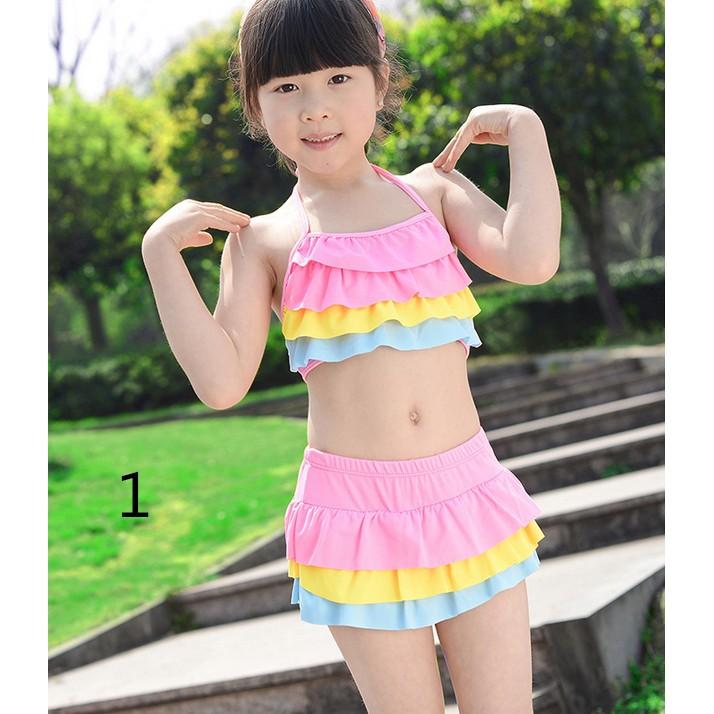 兒童泳衣比基尼分體裙式泳裝可愛公主蛋糕裙式
