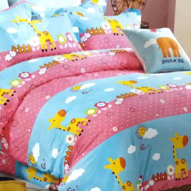 ~柑丫店~6 6 2 尺長頸鹿雙人加大床包3 件組床包枕頭套薄款另售秋被6 7 尺被套