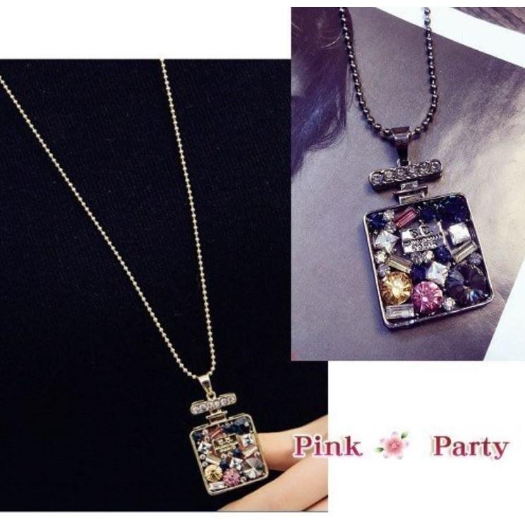 ~Pink Party ❤╯ ~飾品~韓國飾品 外貿精緻 彩色水鑽寶石鏤空香水瓶項鍊長項鍊