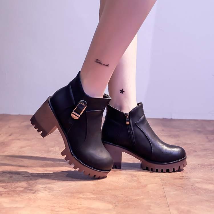 粗跟高跟馬丁靴潮女英倫風學生圓頭防水臺短筒單靴短靴長靴裸靴過膝靴雪靴女靴鞋子平底鞋休閒鞋短
