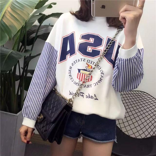 殺價丶韓國 秋裝韓國學院風印花寬松拼接條紋長袖上衣百搭套頭薄款衛衣外套女