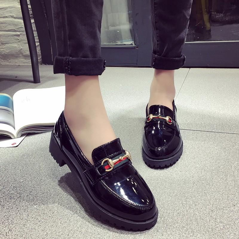 黑色小皮鞋女英倫學院風學生 潮百搭女鞋2017  平底單鞋 鞋跟鞋學生鞋子懶人鞋