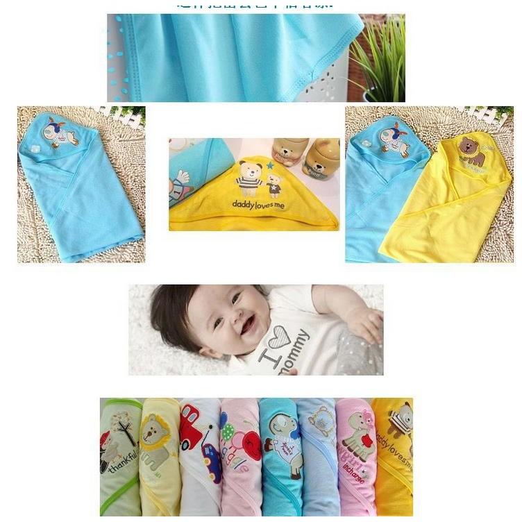 夏款薄毛巾料包巾嬰兒包巾抱巾四季小被被
