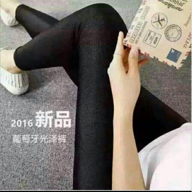 ~ 賣~新色上市2016 Huang s 葡萄牙光澤褲四面超彈力顯瘦修身光澤褲黑色打底褲超
