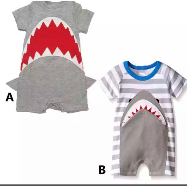 ~32 ~春夏 鯊魚圖案寶寶連身套裝連身衣服嬰幼兒用品衣著新生兒寶寶男女幼兒連身爬爬衣包屁