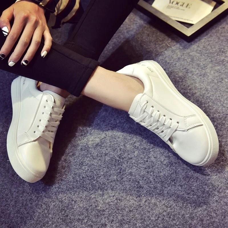 春 單鞋 女鞋 白色板鞋女球鞋平底學生鞋 系帶小白鞋
