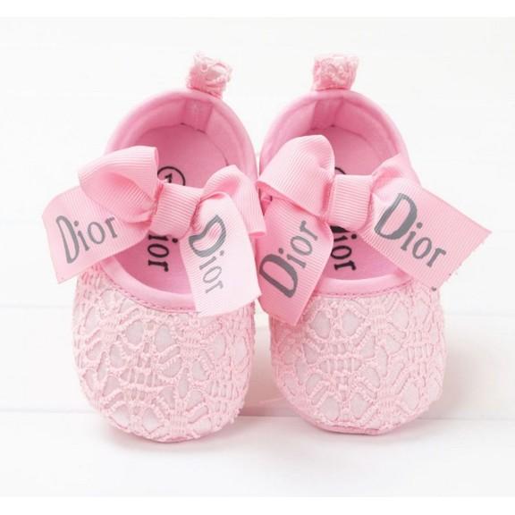 ♔ 大牌氣質蕾絲蝴蝶結寶寶學步鞋優雅粉