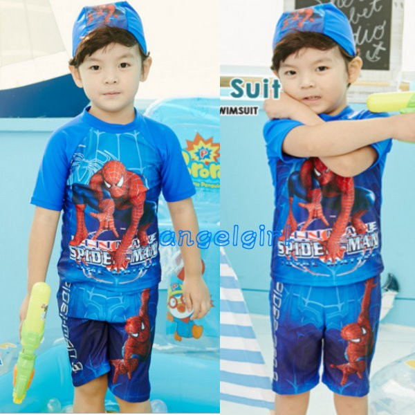 韓國泡溫泉兒童2 件式泳衣 型泳衣蜘蛛人 泳裝泳帽休閒 服衝浪二件式兒童泳裝