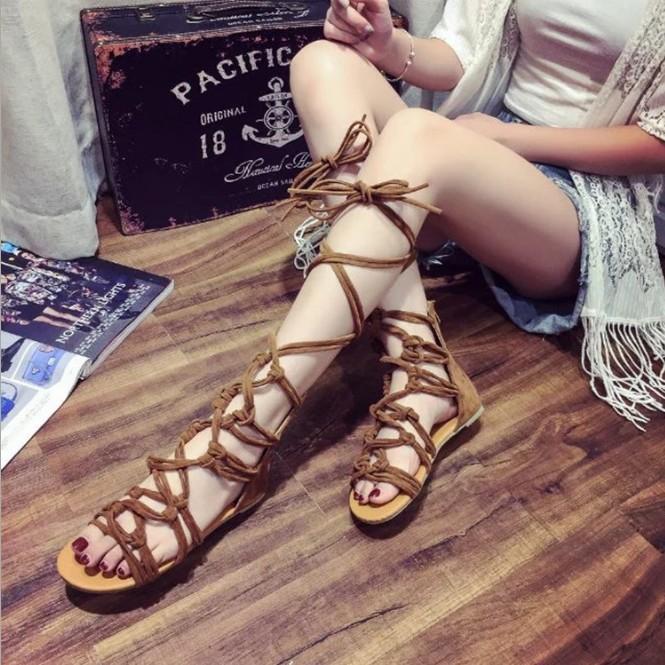 交叉綁帶涼鞋羅馬風格潮流露趾涼鞋平底平跟涼鞋