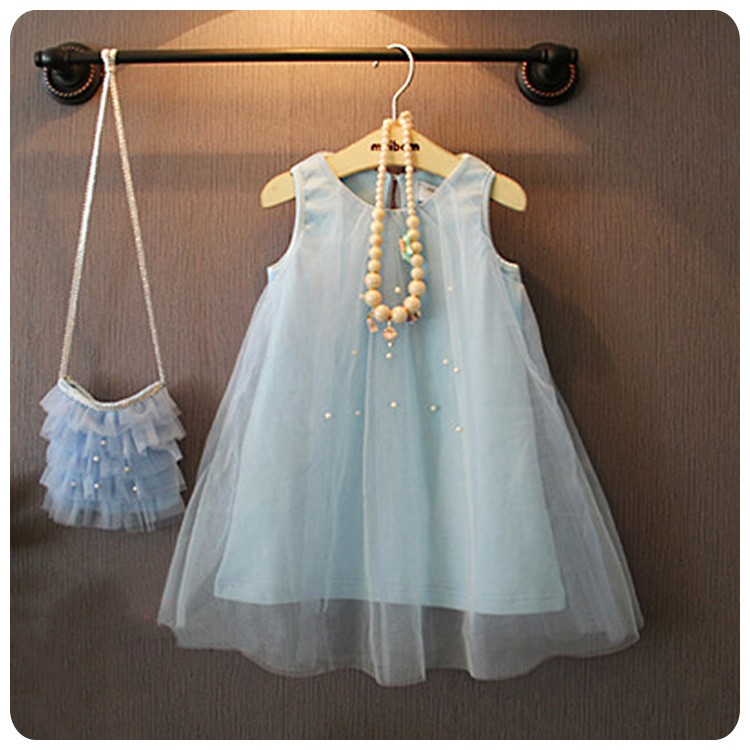 ღ瑪琪朵小舖ღ2016  日系女童超仙公主夢幻釘珠淺藍色背心裙網紗裙表演裙洋裝