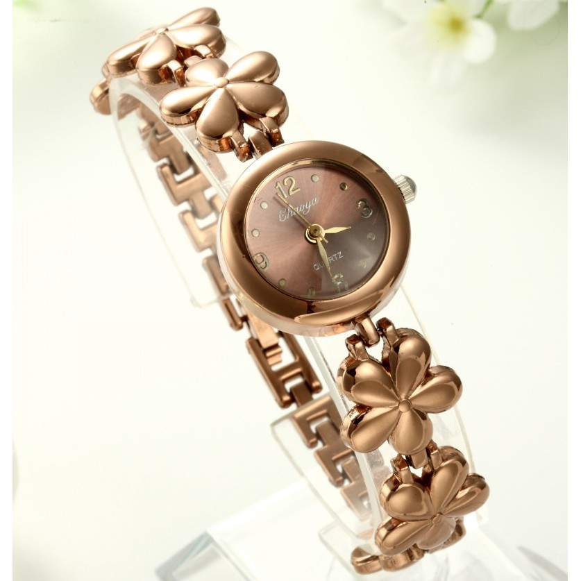 新女性手錶女式石英手錶玫瑰金彩花手鍊腕錶