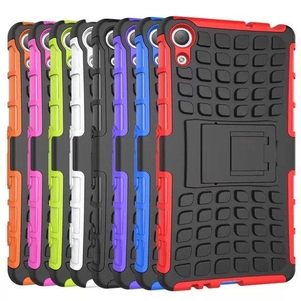 索尼Z4 輪胎紋手機殼索尼Sony Z4 支架防摔殼防滑手機保護套
