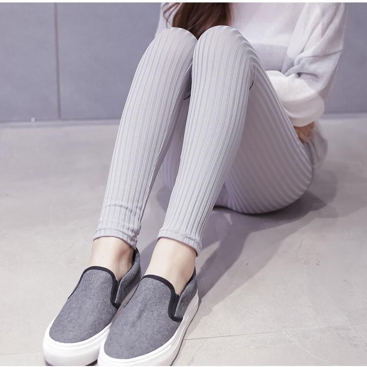純棉外穿打底褲女2016 韓國豎條紋九分褲彈力顯瘦小腳緊身
