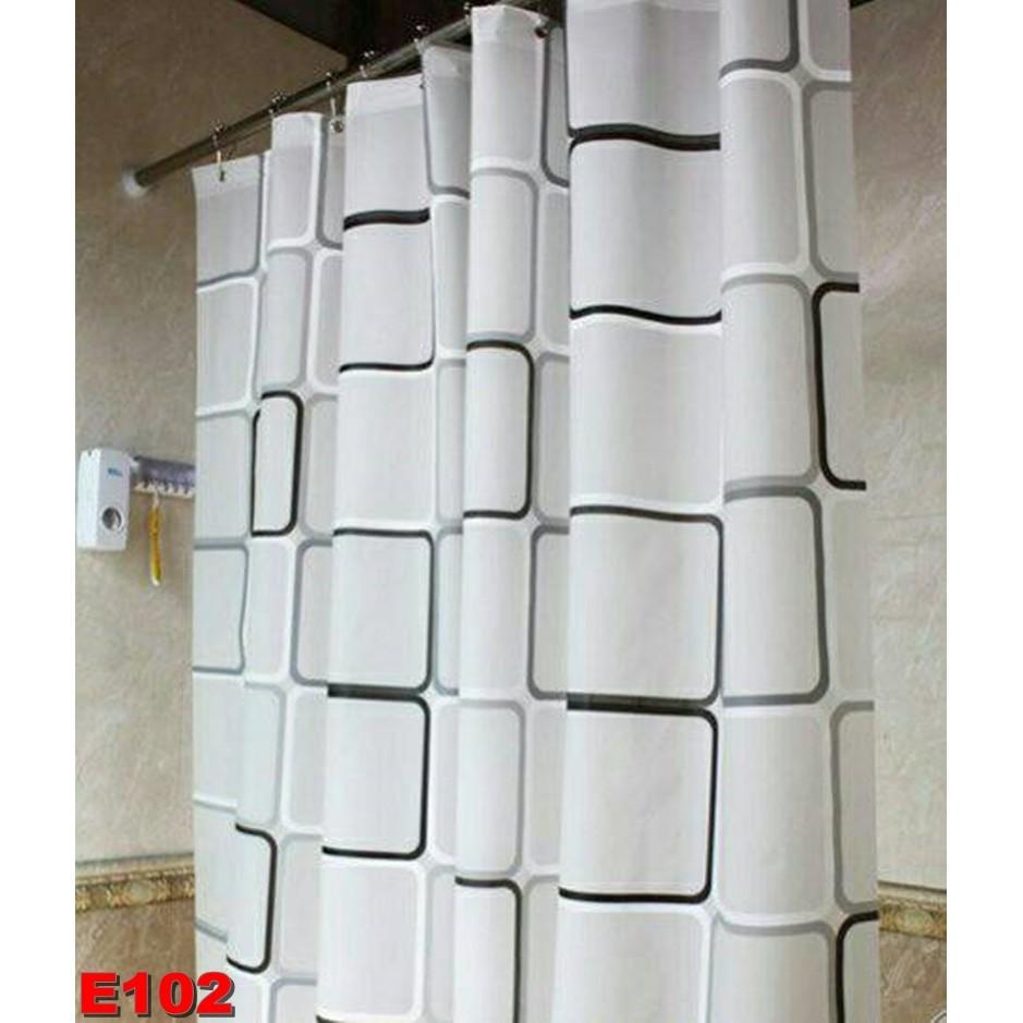 ~嚕啦啦 小舖~正品PEVA 黑白方格防水浴簾送白色C 型塑膠掛勾180 200 擋冷熱氣