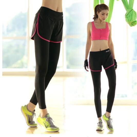 女士 褲瑜伽褲訓練跑步健身護腿假兩件緊身褲