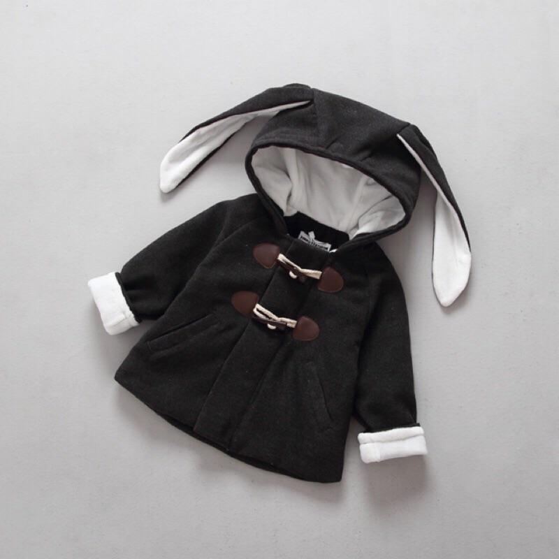 男童女童兒童小童寶寶超長兔子耳朵牛角扣加絨加厚鋪棉長袖連帽外套大衣風衣毛呢