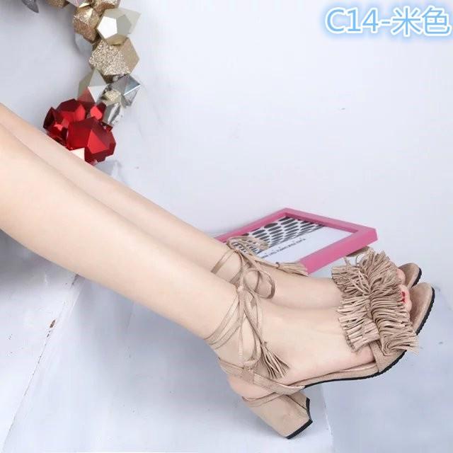 ~ 裝扮~  性感流蘇磨砂高跟鞋粗跟羅馬交叉綁帶露趾中跟涼鞋女