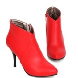 603 014 短靴裸靴高跟鞋尖頭細跟馬丁靴37 紅色