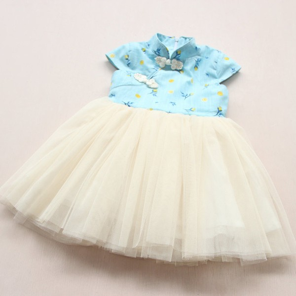 兒童立領花朵紗裙連衣裙公主裙民族風旗袍
