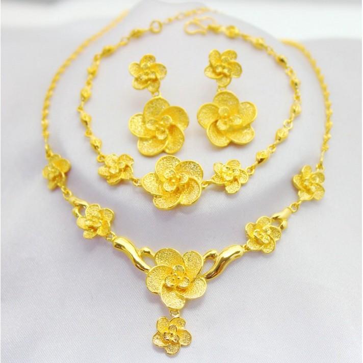 新娘結婚飾品套裝花朵金項鏈沙金仿真鏈子鍍24K 黃金三件套3 金首飾