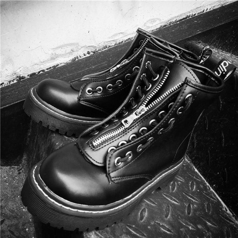 3 色復古英倫風學院兩穿高幫厚底馬丁靴松糕鞋系帶短筒潮流皮靴長靴短靴靴子厚底鞋 穿搭暗黑