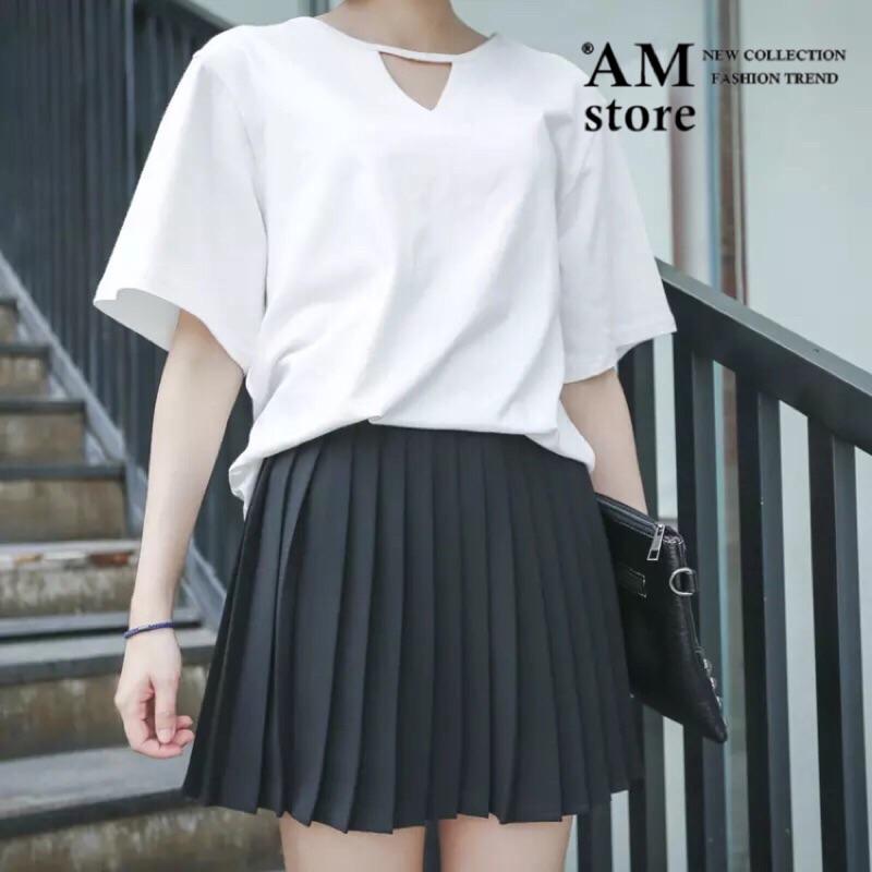 切割三角鏤空純色寬鬆棉質短袖T 恤2 色AMstore