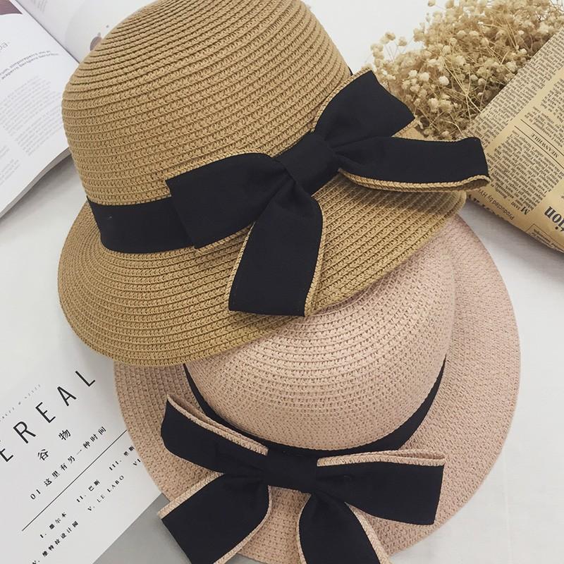 實拍復古簡約 遮陽帽夏天 蝴蝶結太陽帽出遊帽甜美防曬草帽海邊沙灘帽漁夫帽