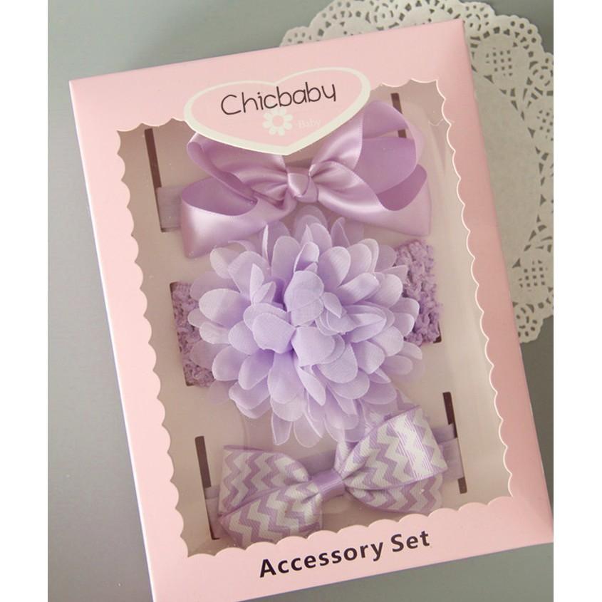 女寶寶淺紫色嬰兒髮帶頭帶飾品髮箍套裝