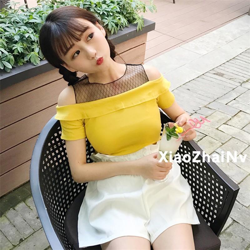 網紗拼接修身顯瘦露肩短袖T 恤純色基礎上衣學生女生衣著