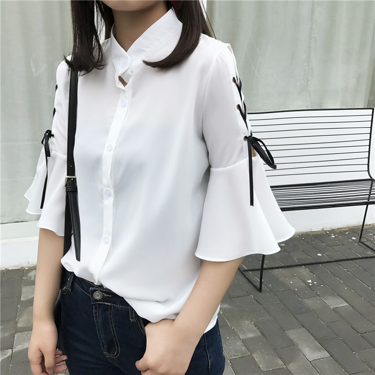 實拍韓國chic 小立領短袖喇叭袖雪紡襯衫蝴蝶結系帶上衣