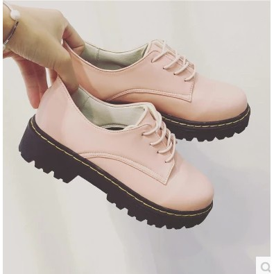 2016 女單鞋平底系帶女鞋中跟厚底英倫學院風小皮鞋學生休閒鞋