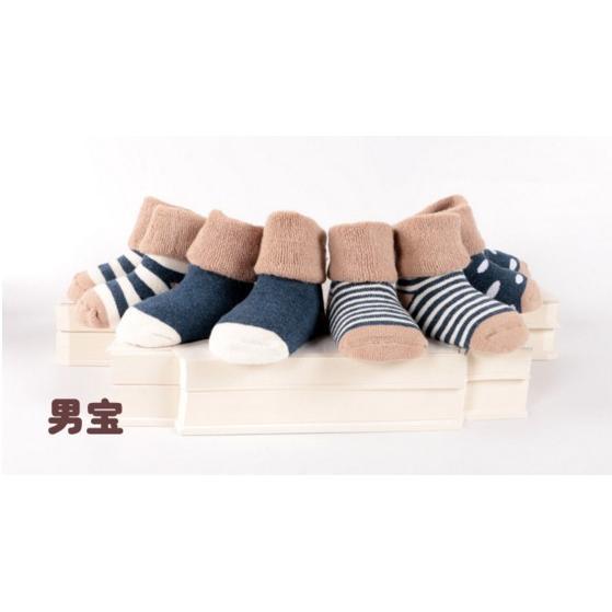 4 入一組襪子童襪全棉寶寶襪加厚毛圈翻邊拉毛~艾肯居家 館~