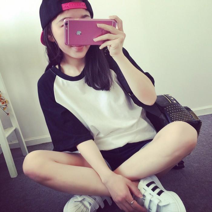 夏裝 棒球寬鬆中袖t 卹女夏學生短袖體恤衫半袖上衣潮 短袖好看百搭