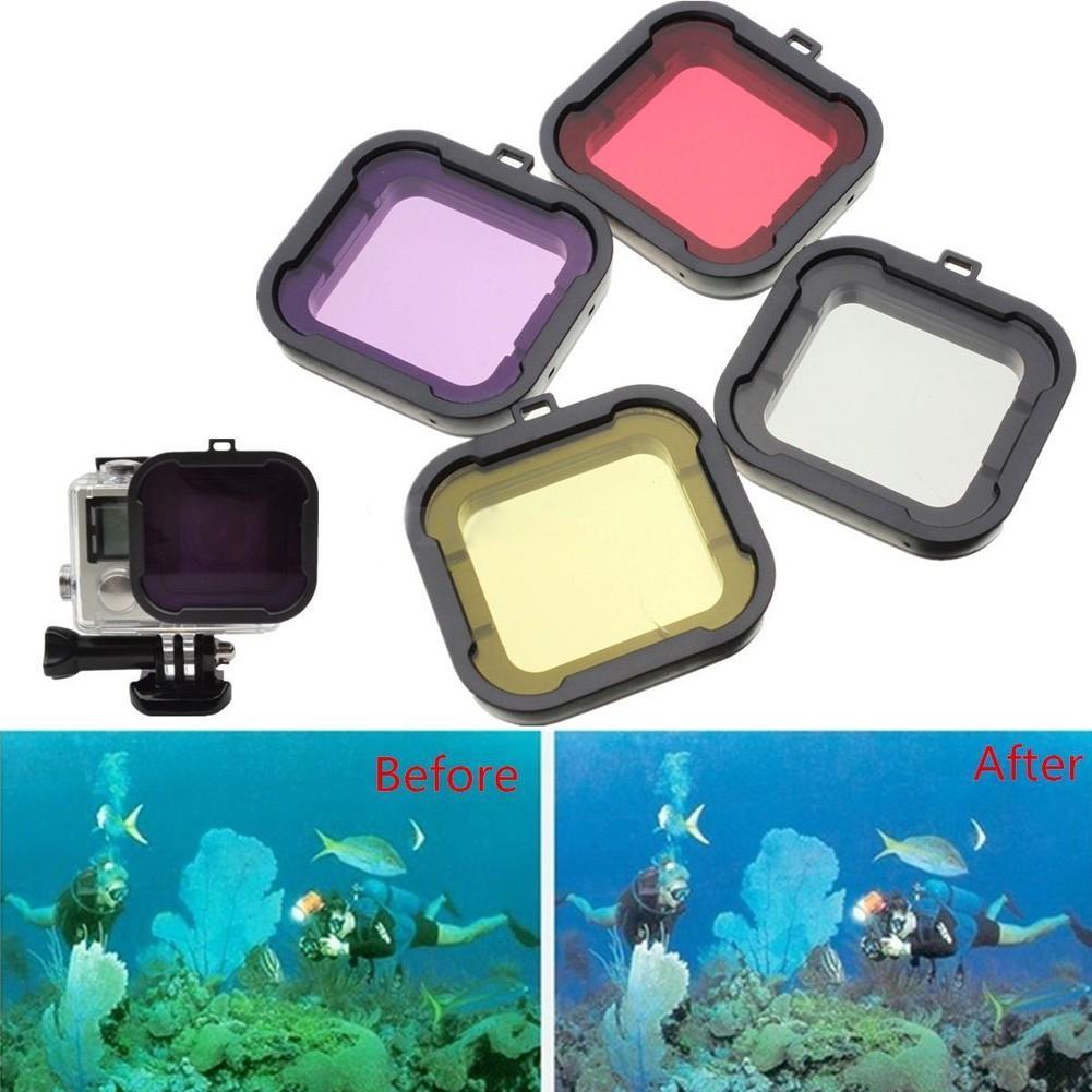 Gopro hero4 hero3 潛水相機濾鏡顏色鏡4 個一賣(黃色紅色紫色灰色)