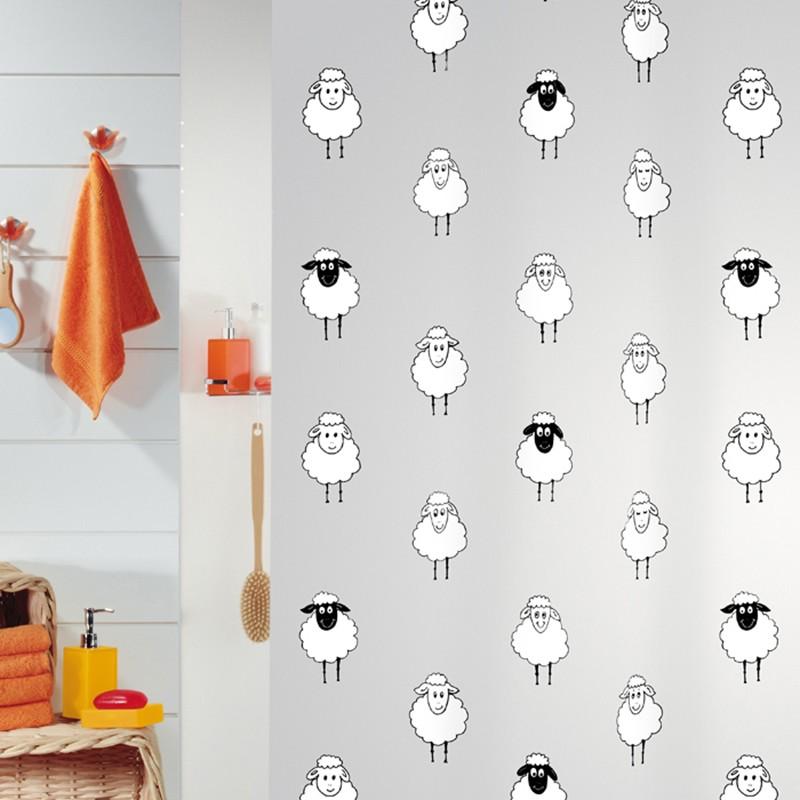 瑞士SPIRELLA 絲普瑞卡通黑白羊 PEVA 浴室簾子浴簾防水防霉包郵