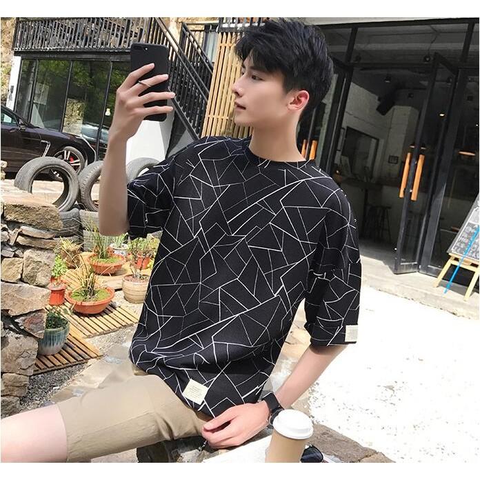 短袖T 恤M 2XL 幾何圖案菱格紋印花TEE 寬鬆短袖大 大碼衣著男士–2 色~Q003
