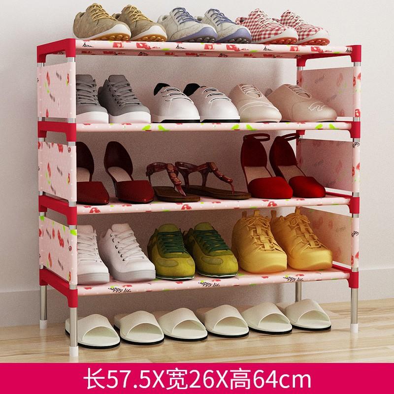 簡易鞋架鐵藝多層組裝收納鞋柜簡約 經濟型宿舍防塵鞋架注:下單前請選擇黑貓