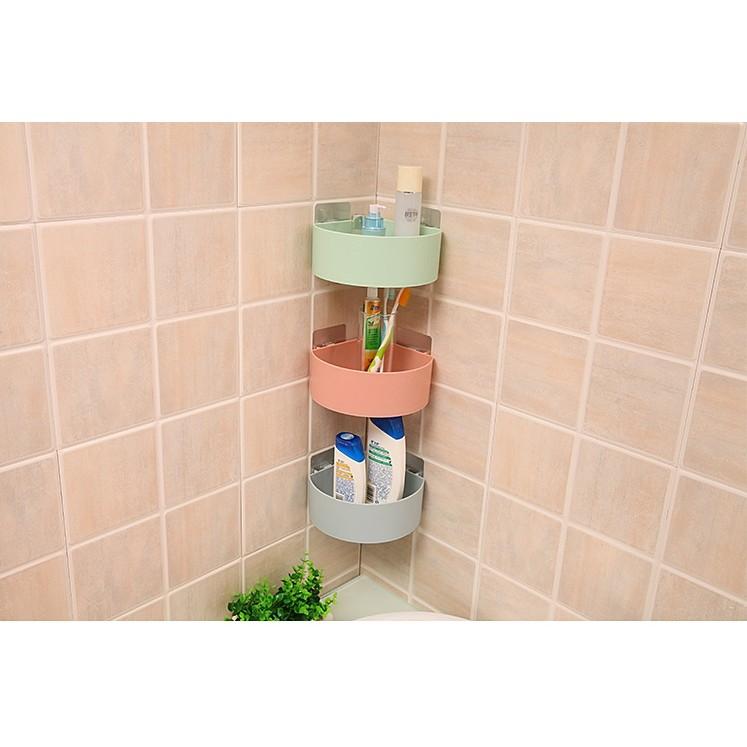 w n 小麥色强力魔術貼浴室廚房牆面置物架瀝水儲物架調味料醬料收納三角架沐浴用品牙刷杯雜物