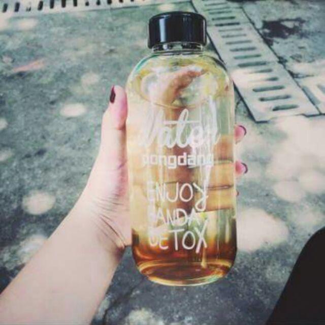 ✔韓國玻璃水瓶✔500ml 大容量乾果瓶檸檬水漸層飲料