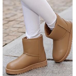 109 114  雪地靴女平底加厚加絨短筒靴保暖靴休閒靴棉鞋棉靴子咖色38