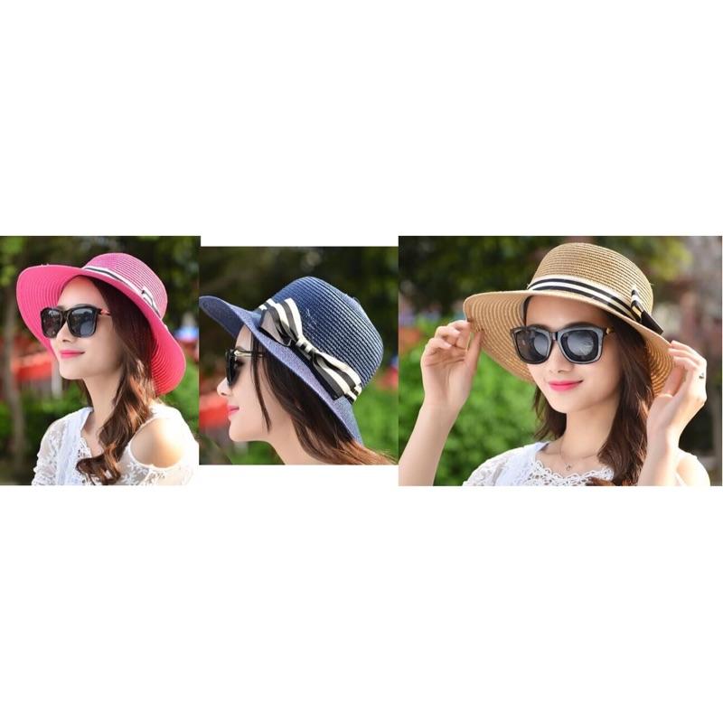 瀅瀅小舖GF61391 橫條蝴蝶結女士草帽中沿帽遮陽帽沙灘帽防曬帽