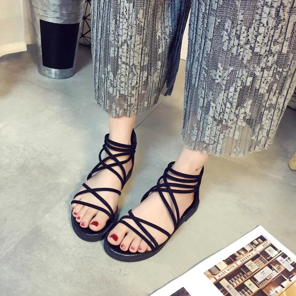 交叉綁帶韓國大牌涼鞋女學生平底平跟一字百搭后拉鏈露趾簡約羅馬