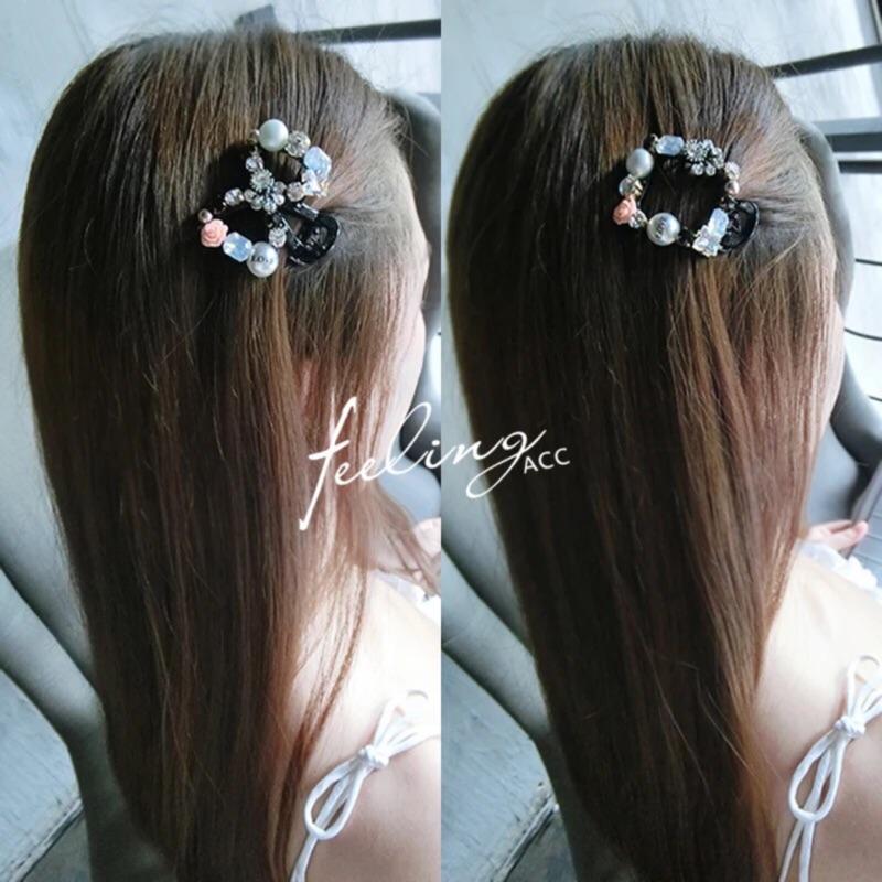 髮飾F179 韓國珍珠蝴蝶結幾何水鑽瀏海夾鴨嘴夾