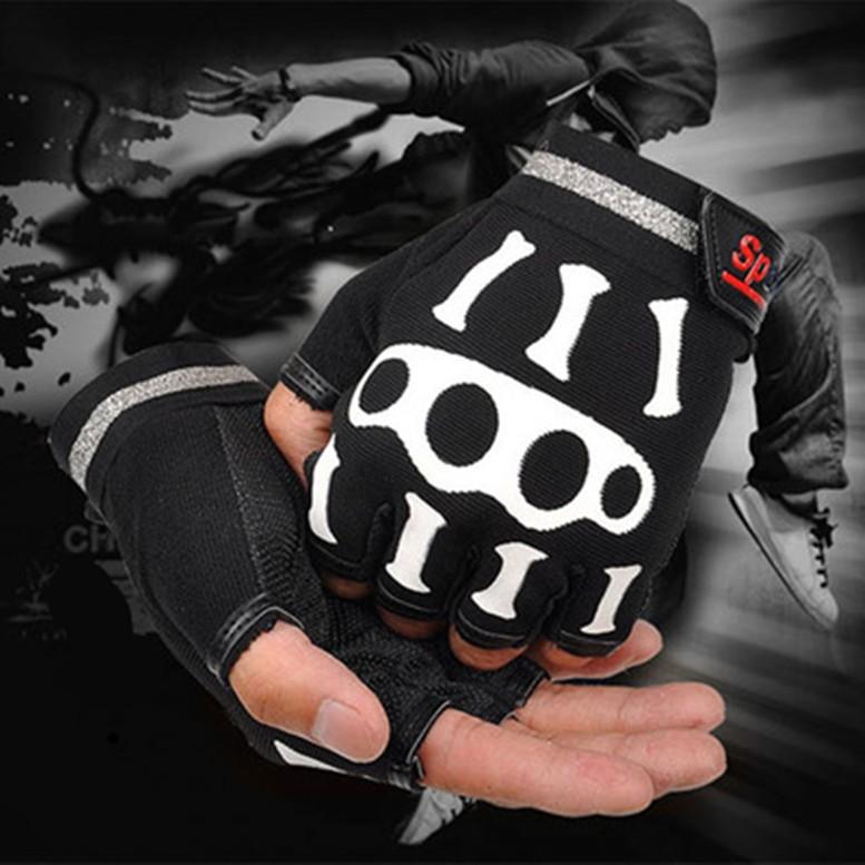自行車半指手套男女騎行健身 超薄款手套戶外 短指透氣登山格鬥骷髏手套
