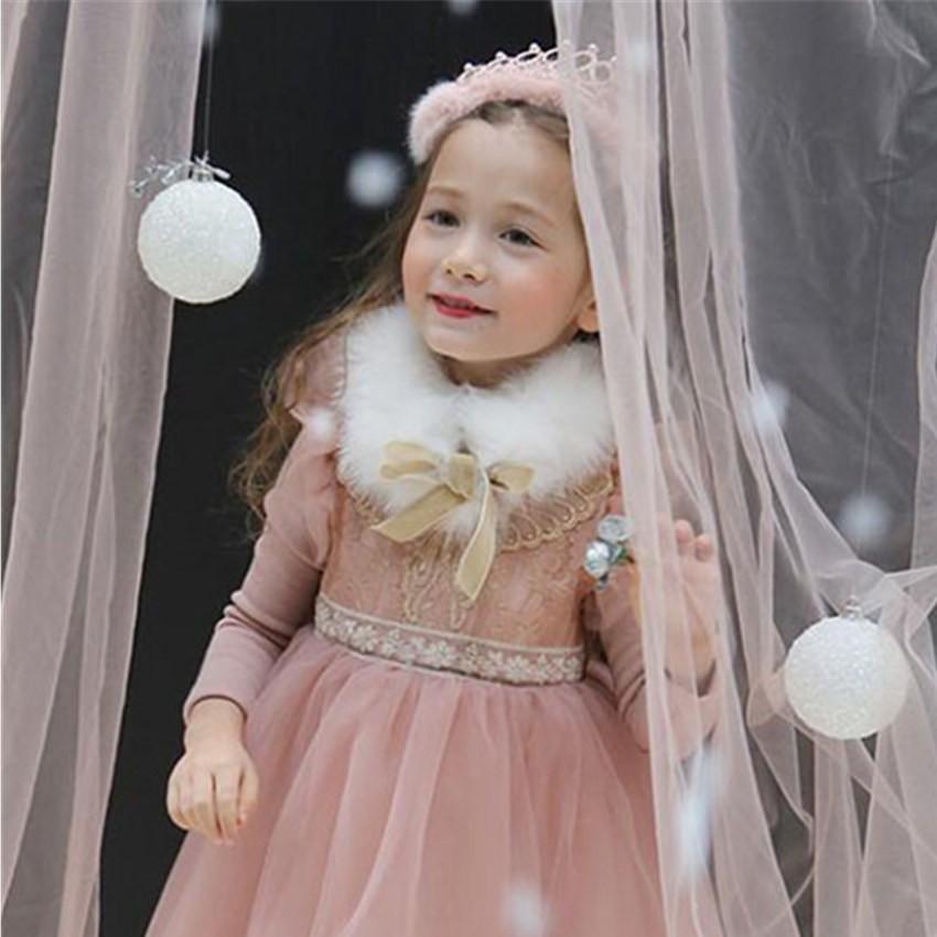 ~公主小舖~韓國外貿女童加絨加厚花邊網紗蓬蓬裙金線蝴蝶公主裝連身裙聖誕裝過年新衣