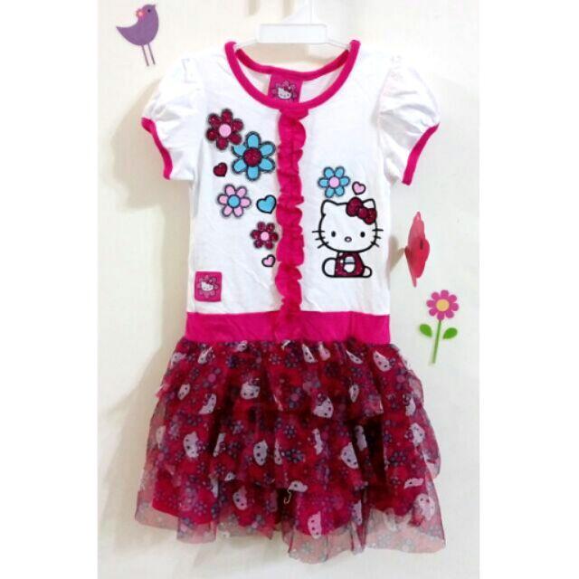 專櫃三麗鷗Hello kitty 粉桃色短袖公主洋裝紗裙連身裙蓬蓬裙蛋糕裙