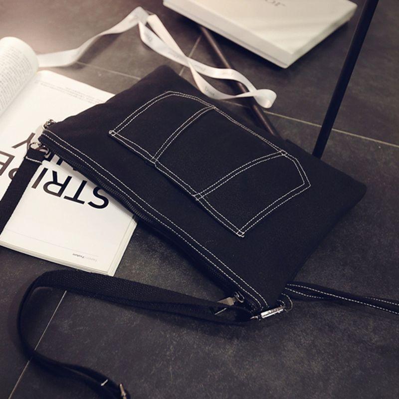 韓國 牛仔帆布車縫線黑色手拿包信封包女潮簡約手挽手提包復古化妝包小包肩背包側背包皮夾長夾短