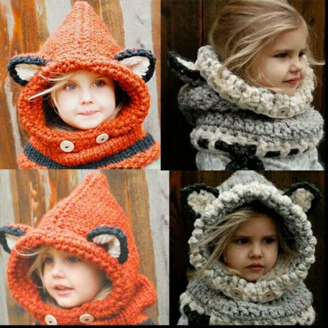 有的沒有韓國 可愛~耳朵狐狸動物毛線帽 加厚保暖護耳針織圍脖親子兒童